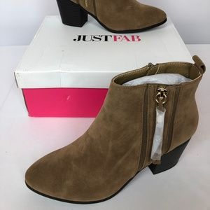 Just Fab Womens Denee Ankle Booties Brown SZ 8 New
